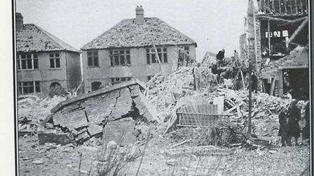 A doodlebug wrecks homes after falling between Rosedale Road and Hainault Road, Collier Row, in June