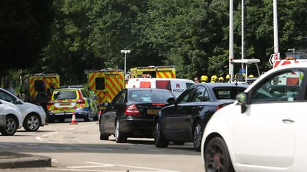 Emergency serives respond to a car crash at Gallows Corner Roundabout in Romford