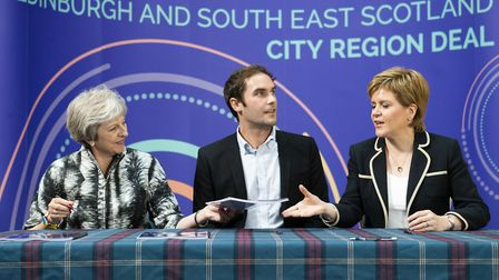 Prime Minister Theresa May, City of Edinburgh Council leader Adam McVey and First Minister Nicola St