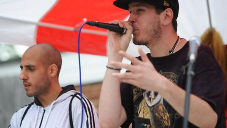 Smokey Love (left) and Too Explicit play at a squat gig