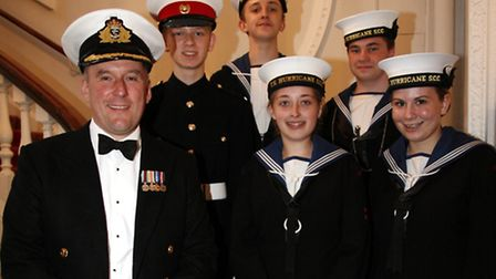 Cadets get to meet Captain Dean Bassett of the HMS Bulwark at the banquet. Picture: Sandra Rowse