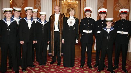 Sea cadets at London's mansion house with the Lord Mayor of London Fiona Woolf and Coachmakers maste