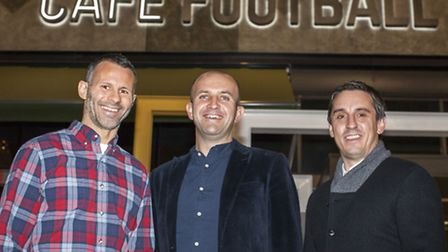 Ryan Giggs, Stuart Procter and Gary Neville outside Cafe Football in Westfield, Stratford (pic: Rob