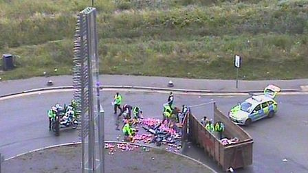 A lorry shed its load of fizzy pop cans on A13 at Ferry Lane this afternoon (Twitter/@TfLTrafficNews