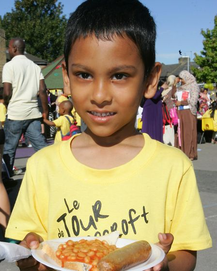 Ravenscroft school pupil Alvi Hossain with his big breakfast