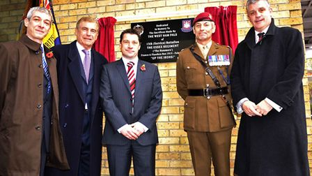 The memorial unveiling in 2009, with (from L to R) Elliot, Sir Trevor Brooking, Tony Cottee, Major D