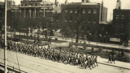 West Ham Battalion marching down Stratford Grove, April 1915
