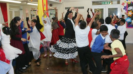 The youngsters try flamenco dancing