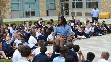 Paralympian Ade Adepitan MBE spent time with children at Keir Hardie Primary School