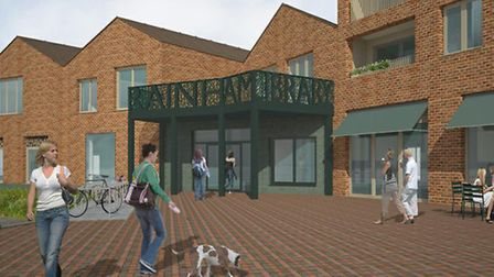 Planning chiefs have given the goahead to plans for a five-storey block of flats, library, cafe and