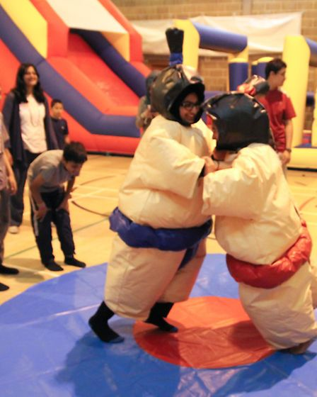 Sumo wrestling entertained the supplementary school pupils