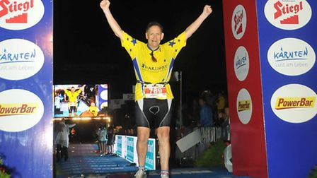 Steve Smith, 61, at the finish line. Picture: Starlight