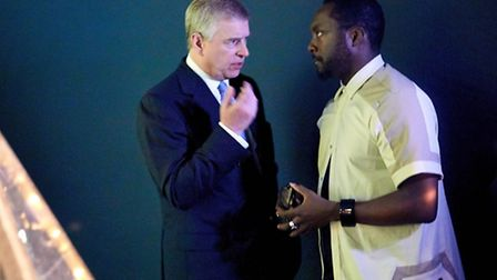 Prince Andrew (left) with will.i.am. Picture: Wow! Marketing
