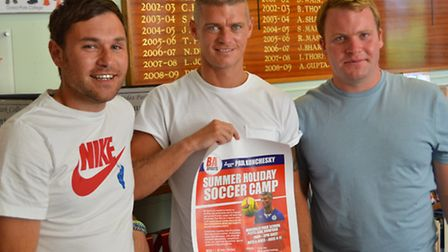 Former West Ham player Paul Konchesky (centre) visited Gidea Park College with Anthony Sealey (left)