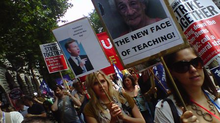 Striking teachers on a march in London earlier this year