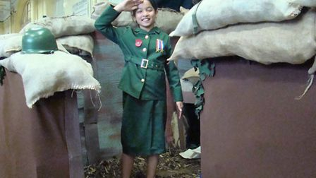 Tayesha Rahman is pictured in a battlefield trench