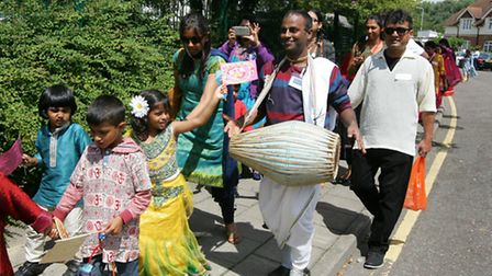 Avant Court Primary School, celebrating chariot festival with a procession around the school, with c