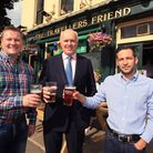 Ian Duncan Smith with Travellers Friend pub owners Scott Randall, left, and Andrew Zacharia.