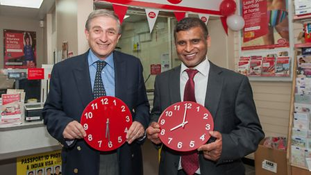 L to R - MP Lee Scott and Subpostmaster Raj Kumar show Longwood Parade's Post Office new opening hou