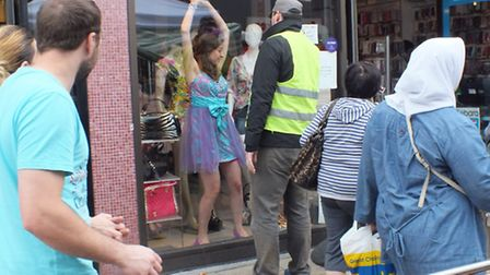 Shoppers were perplexed by the street performers. Picture: Vision Redbridge Culture & Leisure