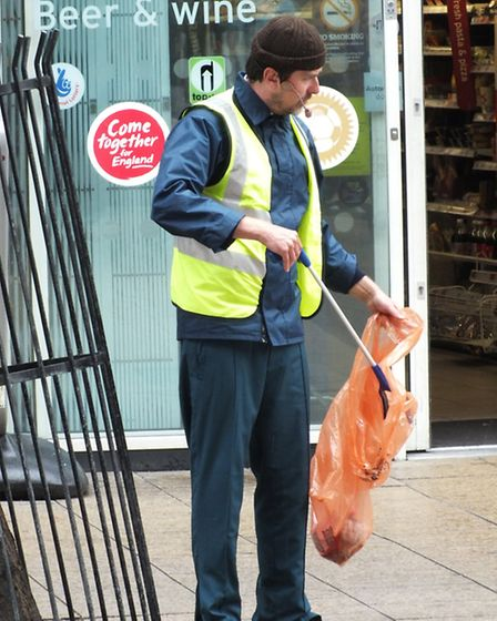 Not your usual street cleaner - he's wearing a microphone. Picture: Vision Redbridge Culture & Leisu