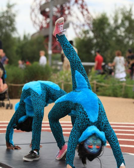 Acrobatic group, Mimbre, perfomrs at the Great British Carnival at the Olympic Park.