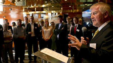 Declan Collier, chief executive of London City Airport, speaking at the launch of the Royal Docks e