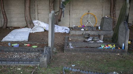 The vandalism, rubbish and damage at Buckingham Road Cemetery in Ilford.