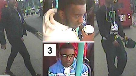 CCTV images of four suspects police want to trace after attack on bus driver at Stratford on April 2