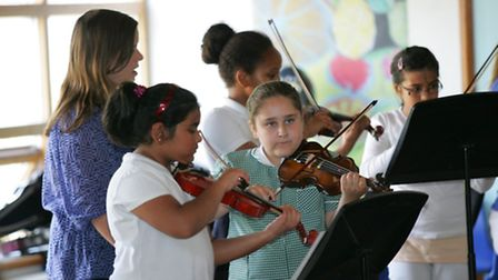 Gallions school pupils at their lunchtime music concert