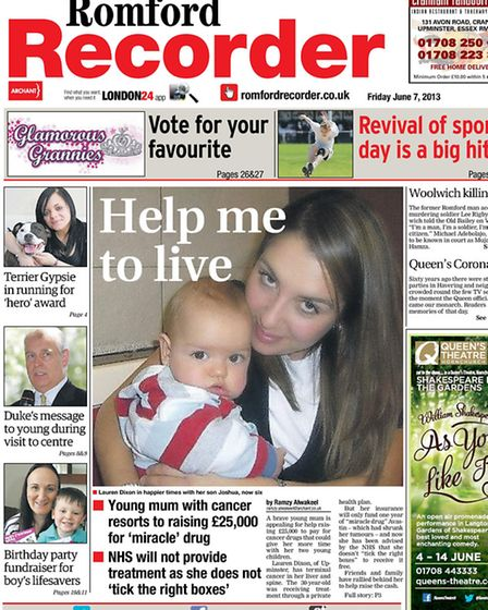 The Recorder's front page on June 7, 2013