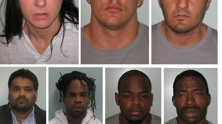 Gang jailed 90 years total...Top L-R Day, Strasunskas, Kayani;
