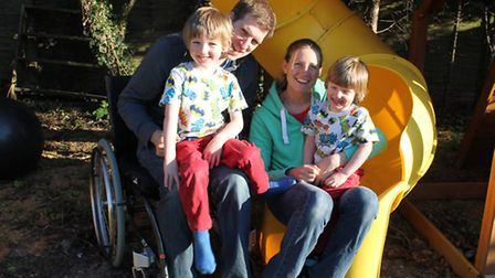 Jo Rodda, 38, with Simon Malyon, 42, and his sons Jack, 5 and Billy, 3