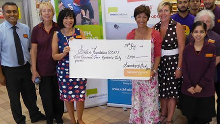 The efforts of both staff and shoppers at Sainsbury in East Ham culminated with a cheque presentatio