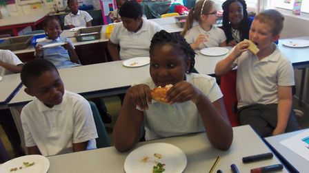 Children at Maryland Primary learnt to prepare and enjoy pizzas as part of an event deisgned to teac