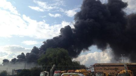 Smoke bellowed from the site. Picture: @lizwilloughby