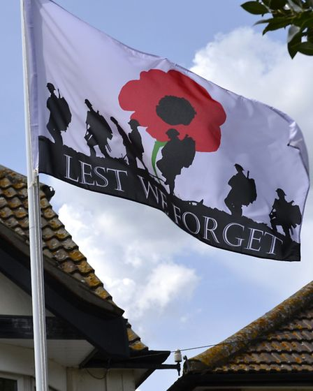 Flag flying in Aldborough Hatch to mark the centenary. [Picture: Ron Jeffries]