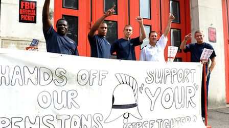 Firefighters stike outside Plaistow fire station last year. Plaistow is one of two Newham stations t