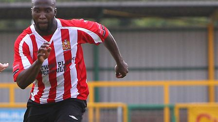 Hornchurch's Junior Dadson netted in their defeat at Leatherhead (pic: Gavin Ellis/TGSPHOTO)