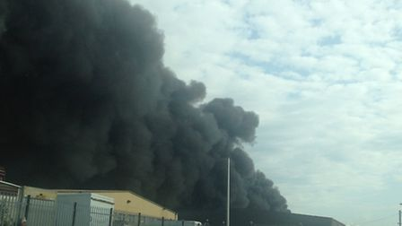 The blaze photographed yesterday. Picture: B Edmunds