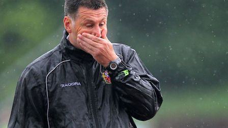 Hornchurch manager Jim McFarlane is without Purcell for six matches (pic: Gavin Ellis/TGSPHOTO)