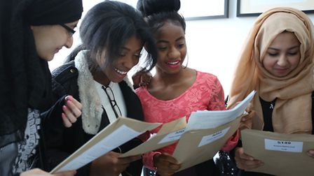 Students celebrating their GCSE results at Loxford School of Science and Technology in Ilford (Pictu
