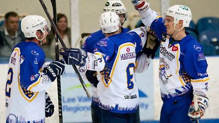 London Raiders players celebrate a goal during the 2013/14 season at Lee Valley (pic: John Scott)