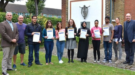 Students at St Angela's and St Bonaventure's Sixth Form celebrate their A Level results with headtea