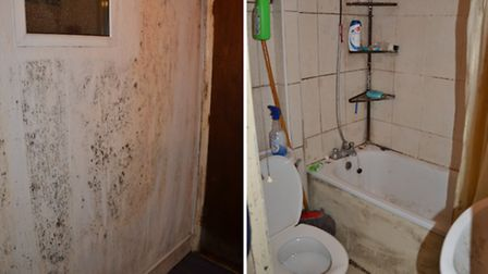 Left: mould climbs the wall; right: the filthy bathroom (Picture: Redbridge Council)