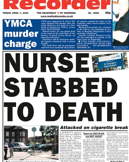 Recorder's front page on April 7 2006, the day after Cheryl's murder