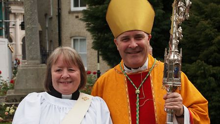 Deacon Marion Williams with Bishop Stephen Cottrell at Chelmsford Cathedral