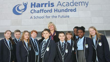 Harris Academy principal Nicola Graham pictured with students