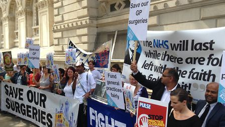 East London's GPs protesting at Downing Street over surgery funding