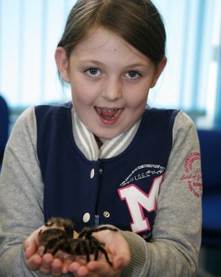 Snakes Alive at Gidea Park Library. Grace Turner, 8, with a curly haired tarantula spider called Mat